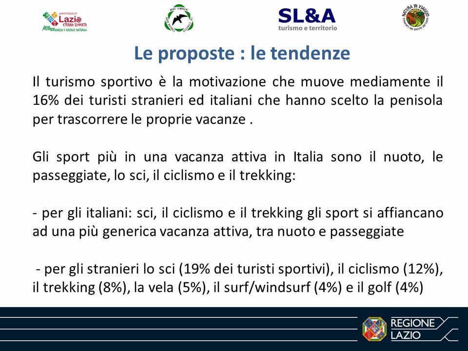 Le proposte : le tendenze Il turismo sportivo è la motivazione che muove mediamente il 16% dei turisti stranieri ed italiani che hanno scelto la penisola per trascorrere le proprie vacanze.