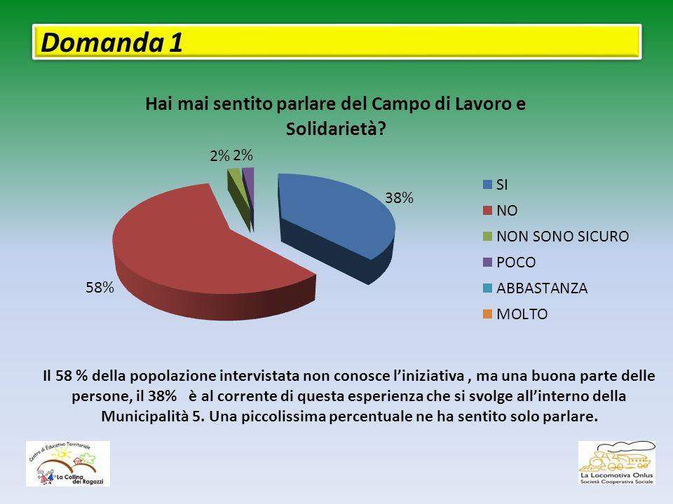 Domanda 1 Il 58 % della popolazione intervistata non conosce l'iniziativa, ma una buona parte delle persone, il 38% è al corrente di questa esperienza che si svolge all'interno della Municipalità 5.