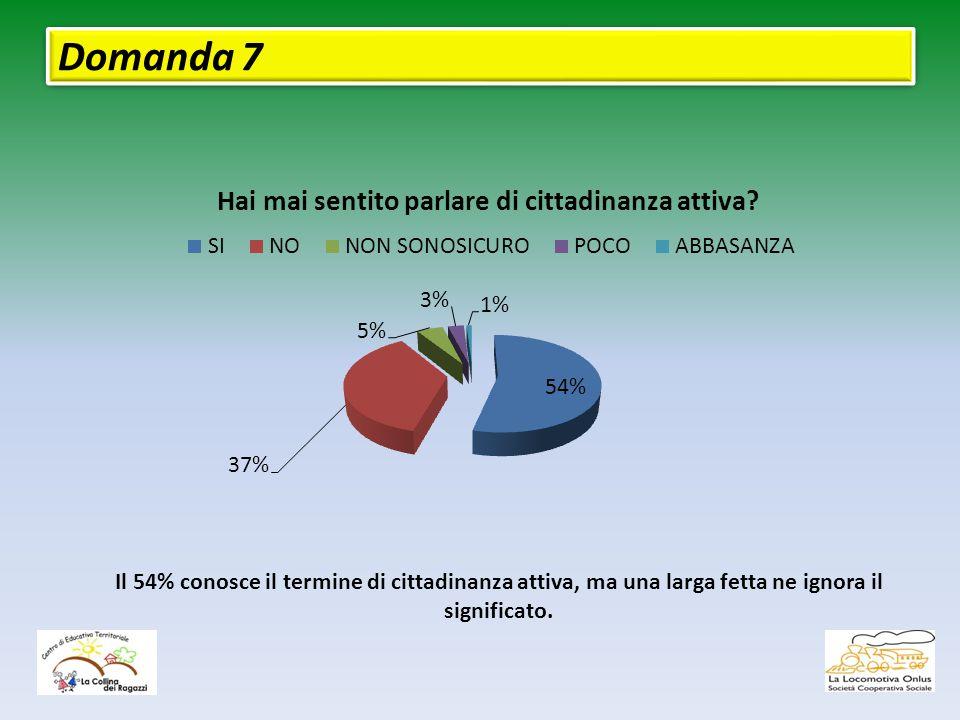 Domanda 7 Il 54% conosce il termine di cittadinanza attiva, ma una larga fetta ne ignora il significato.