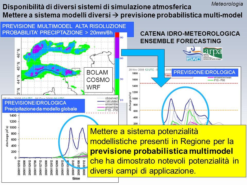 PREVISIONE MULTIMODEL ALTA RISOLUZIONE PROBABILITA' PRECIPTAZIONE > 20mm/6h CATENA IDRO-METEOROLOGICA ENSEMBLE FORECASTING Disponibilità di diversi si