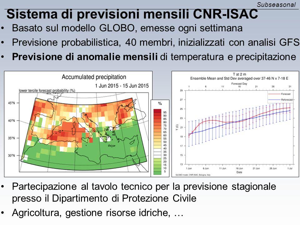 Sistema di previsioni mensili CNR-ISAC Basato sul modello GLOBO, emesse ogni settimana Previsione probabilistica, 40 membri, inizializzati con analisi