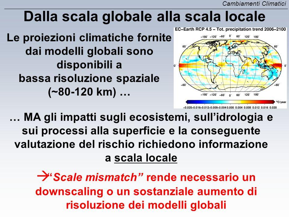Le proiezioni climatiche fornite dai modelli globali sono disponibili a bassa risoluzione spaziale (~80-120 km) … Dalla scala globale alla scala local