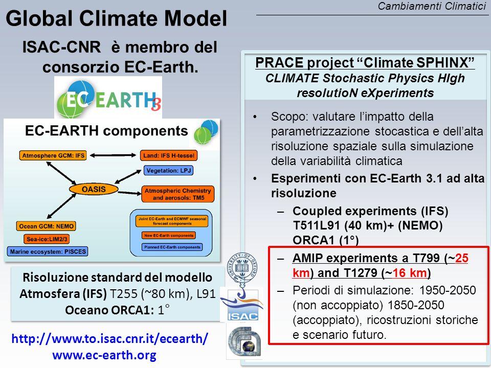 Scopo: valutare l'impatto della parametrizzazione stocastica e dell'alta risoluzione spaziale sulla simulazione della variabilità climatica Esperiment
