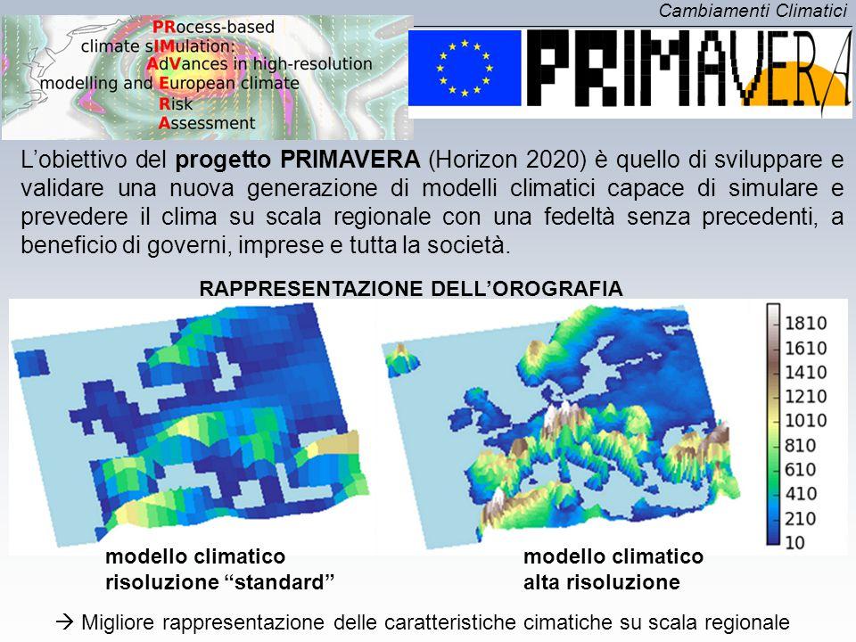 Cambiamenti Climatici L'obiettivo del progetto PRIMAVERA (Horizon 2020) è quello di sviluppare e validare una nuova generazione di modelli climatici c