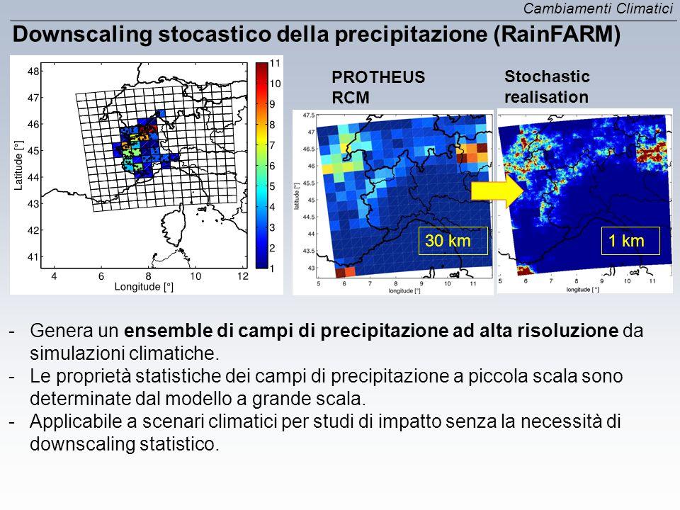 Downscaling stocastico della precipitazione (RainFARM) 30 km1 km PROTHEUS RCM Stochastic realisation Cambiamenti Climatici -Genera un ensemble di camp