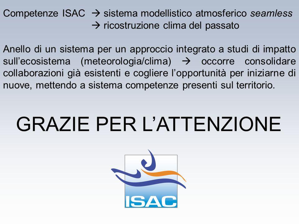 GRAZIE PER L'ATTENZIONE Competenze ISAC  sistema modellistico atmosferico seamless  ricostruzione clima del passato Anello di un sistema per un appr