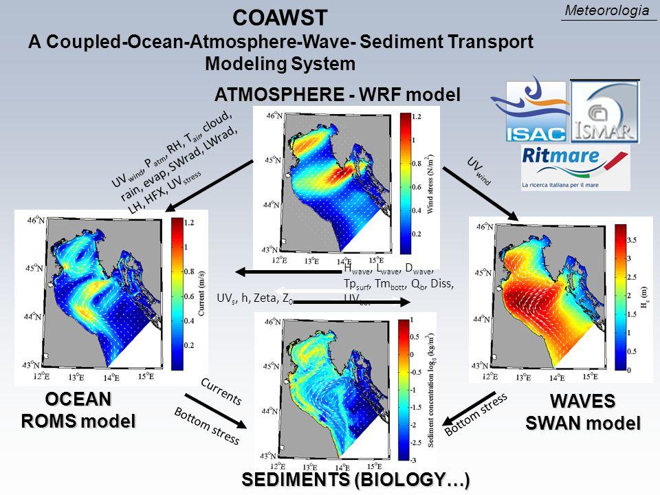 OCEAN ROMS model WAVES SWAN model Bottom stress SEDIMENTS (BIOLOGY…) UV wind, P atm, RH, T air, cloud, rain, evap, SWrad, LWrad, LH, HFX, UV stress UV