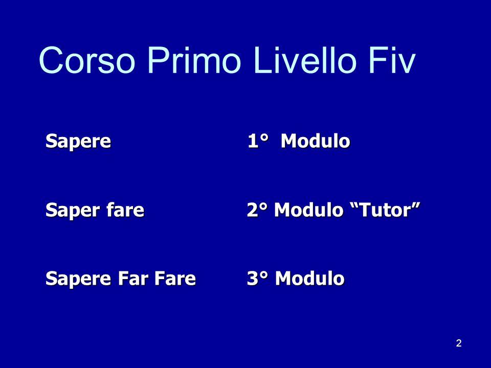 2 Corso Primo Livello Fiv Sapere 1° Modulo Saper fare 2° Modulo Tutor Sapere Far Fare 3° Modulo