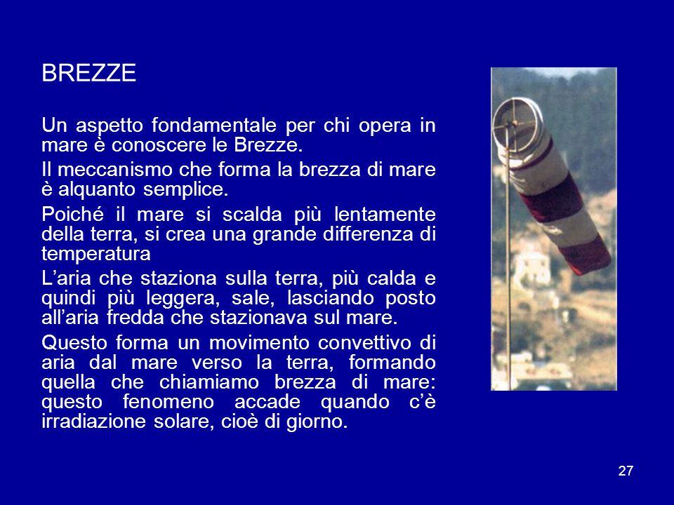 27 BREZZE Un aspetto fondamentale per chi opera in mare è conoscere le Brezze.
