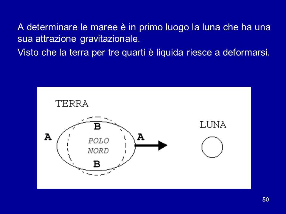 50 A determinare le maree è in primo luogo la luna che ha una sua attrazione gravitazionale.
