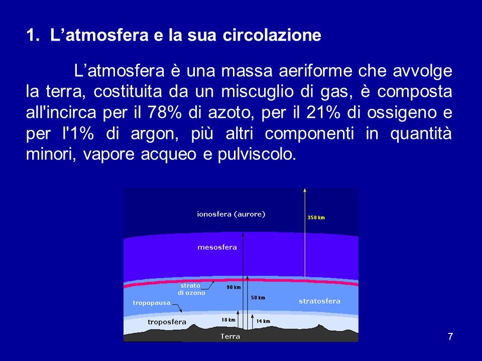 7 1. L'atmosfera e la sua circolazione L'atmosfera è una massa aeriforme che avvolge la terra, costituita da un miscuglio di gas, è composta all'incir