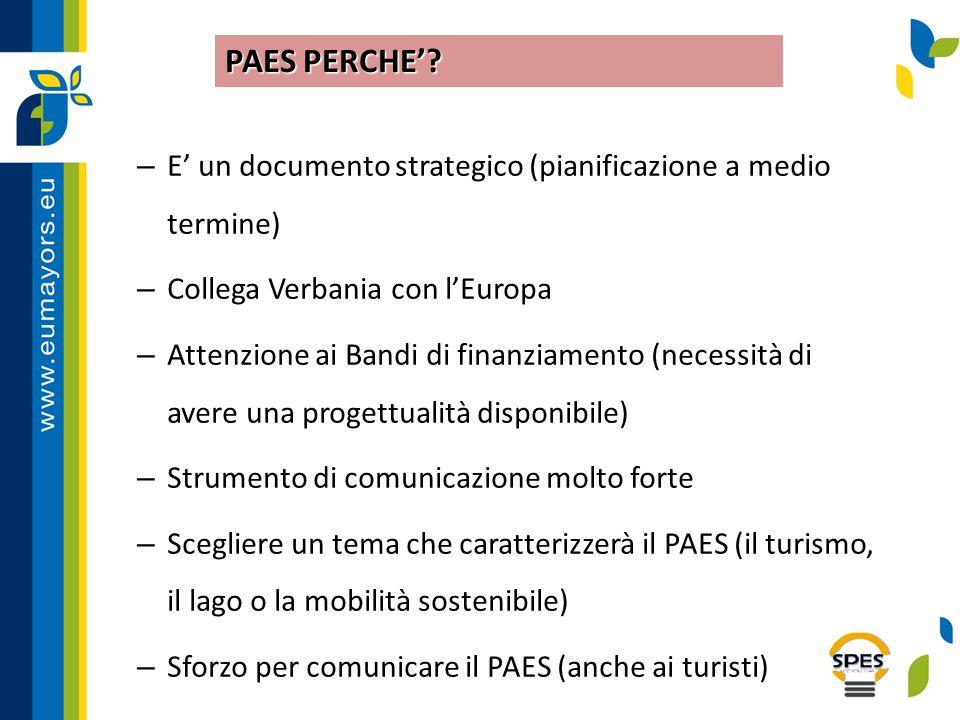 – E' un documento strategico (pianificazione a medio termine) – Collega Verbania con l'Europa – Attenzione ai Bandi di finanziamento (necessità di ave