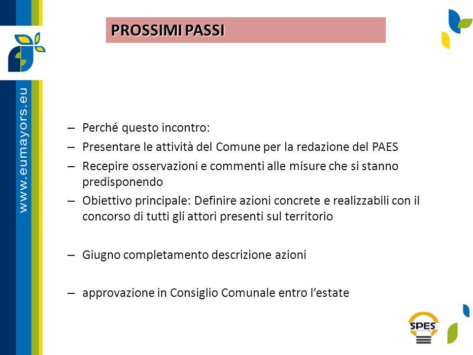 – Perché questo incontro: – Presentare le attività del Comune per la redazione del PAES – Recepire osservazioni e commenti alle misure che si stanno p