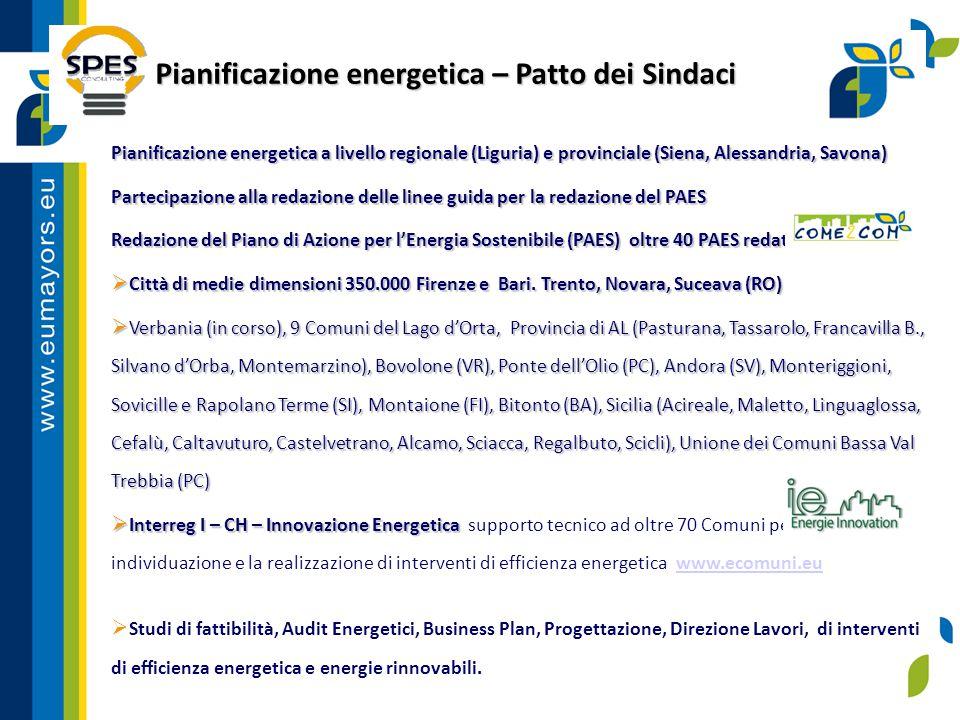 Sistemi per la gestione dell'energia Sistemi per la gestione dell'energia  Supporto e assistenza tecnica per l'installazione di sistemi per la gestione dell'energia in ambito comunale:  Comune di Montaione (FI) 3.500 abitanti – ISO 14001, EN ISO 50001 tra i primi Comuni in Europa  European Energy Award – Modello per la gestione dell'energia adottato in 1.200 Comuni in Europa – www.european-energy-award.org.