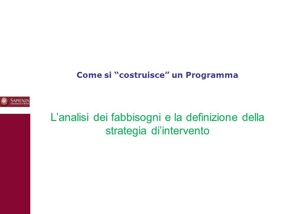10 Come si costruisce un Programma L'analisi dei fabbisogni e la definizione della strategia di'intervento