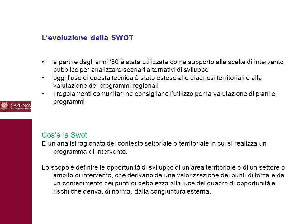 10 L'evoluzione della SWOT a partire dagli anni '80 è stata utilizzata come supporto alle scelte di intervento pubblico per analizzare scenari alterna