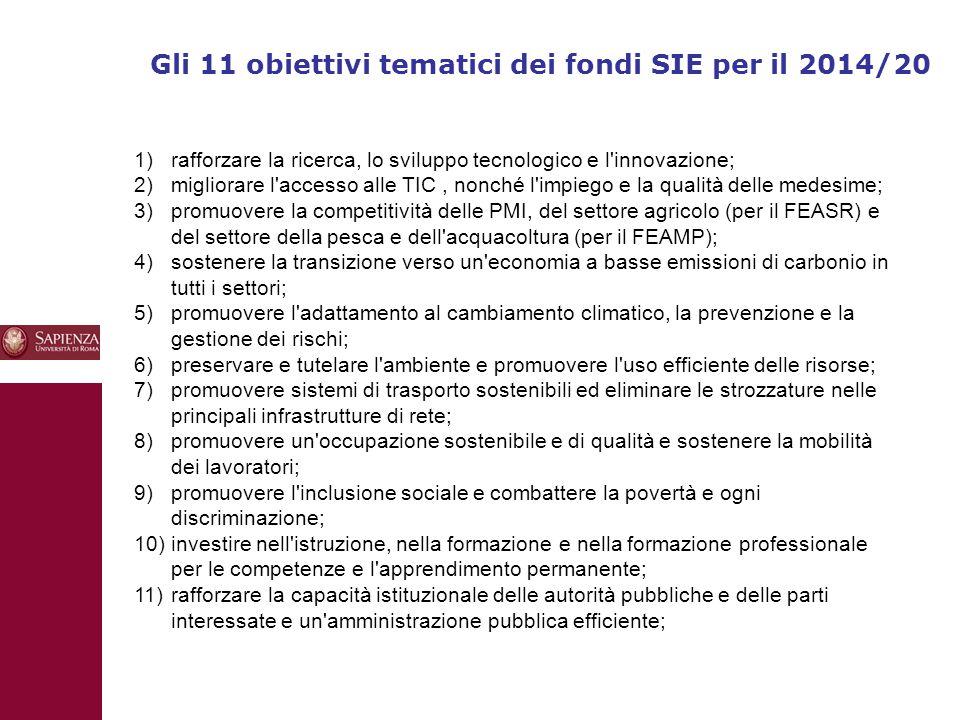 10 Gli 11 obiettivi tematici dei fondi SIE per il 2014/20 1) rafforzare la ricerca, lo sviluppo tecnologico e l innovazione; 2) migliorare l accesso alle TIC, nonché l impiego e la qualità delle medesime; 3) promuovere la competitività delle PMI, del settore agricolo (per il FEASR) e del settore della pesca e dell acquacoltura (per il FEAMP); 4) sostenere la transizione verso un economia a basse emissioni di carbonio in tutti i settori; 5) promuovere l adattamento al cambiamento climatico, la prevenzione e la gestione dei rischi; 6) preservare e tutelare l ambiente e promuovere l uso efficiente delle risorse; 7) promuovere sistemi di trasporto sostenibili ed eliminare le strozzature nelle principali infrastrutture di rete; 8) promuovere un occupazione sostenibile e di qualità e sostenere la mobilità dei lavoratori; 9) promuovere l inclusione sociale e combattere la povertà e ogni discriminazione; 10) investire nell istruzione, nella formazione e nella formazione professionale per le competenze e l apprendimento permanente; 11) rafforzare la capacità istituzionale delle autorità pubbliche e delle parti interessate e un amministrazione pubblica efficiente;