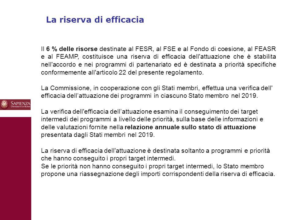 10 La riserva di efficacia Il 6 % delle risorse destinate al FESR, al FSE e al Fondo di coesione, al FEASR e al FEAMP, costituisce una riserva di efficacia dell attuazione che è stabilita nell accordo e nei programmi di partenariato ed è destinata a priorità specifiche conformemente all articolo 22 del presente regolamento.
