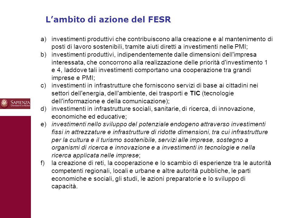 10 L'ambito di azione del FESR a)investimenti produttivi che contribuiscono alla creazione e al mantenimento di posti di lavoro sostenibili, tramite aiuti diretti a investimenti nelle PMI; b) investimenti produttivi, indipendentemente dalle dimensioni dell impresa interessata, che concorrono alla realizzazione delle priorità d investimento 1 e 4, laddove tali investimenti comportano una cooperazione tra grandi imprese e PMI; c) investimenti in infrastrutture che forniscono servizi di base ai cittadini nei settori dell energia, dell ambiente, dei trasporti e TIC (tecnologie dell informazione e della comunicazione); d) investimenti in infrastrutture sociali, sanitarie, di ricerca, di innovazione, economiche ed educative; e) investimenti nello sviluppo del potenziale endogeno attraverso investimenti fissi in attrezzature e infrastrutture di ridotte dimensioni, tra cui infrastrutture per la cultura e il turismo sostenibile, servizi alle imprese, sostegno a organismi di ricerca e innovazione e a investimenti in tecnologie e nella ricerca applicata nelle imprese; f) la creazione di reti, la cooperazione e lo scambio di esperienze tra le autorità competenti regionali, locali e urbane e altre autorità pubbliche, le parti economiche e sociali, gli studi, le azioni preparatorie e lo sviluppo di capacità.