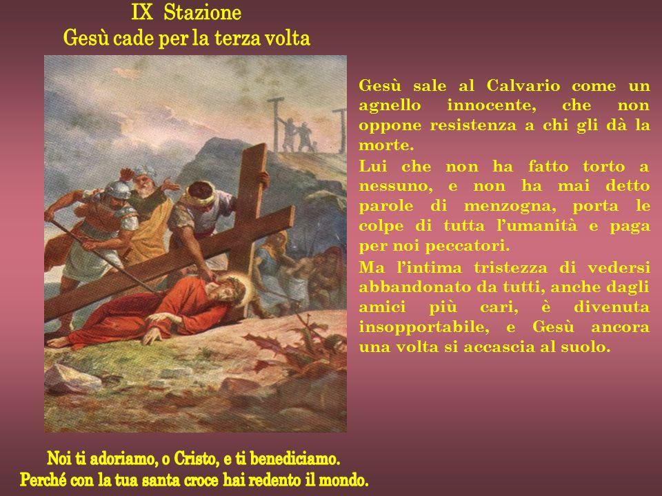 Gesù sale al Calvario come un agnello innocente, che non oppone resistenza a chi gli dà la morte. Lui che non ha fatto torto a nessuno, e non ha mai d
