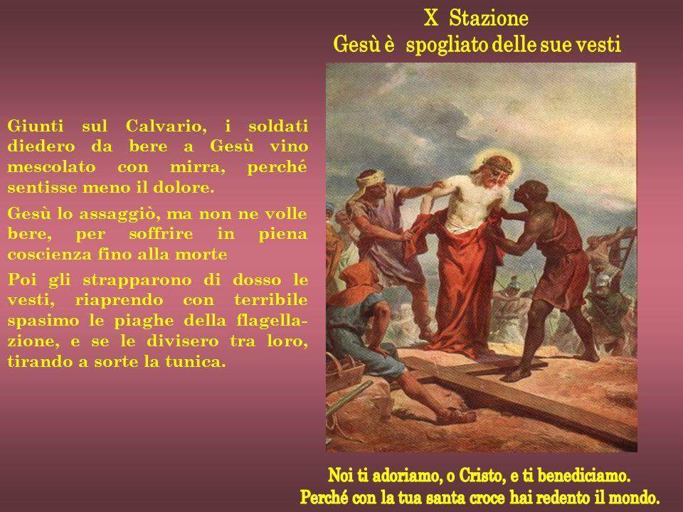 Giunti sul Calvario, i soldati diedero da bere a Gesù vino mescolato con mirra, perché sentisse meno il dolore. Gesù lo assaggiò, ma non ne volle bere