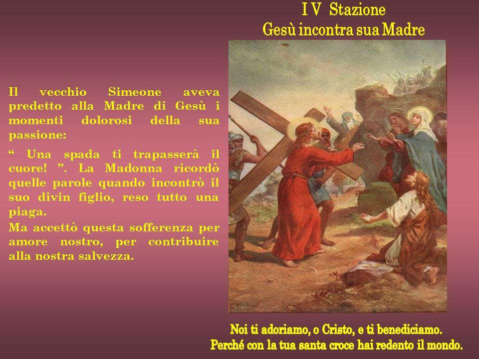 Nell'uscire dalla città per salire al Calvario, i soldati che conducevano Gesù si imbat- terono in un uomo di Cirene, chiamato Simone, e lo requisi- rono perché aiutasse Gesù a portare la croce.