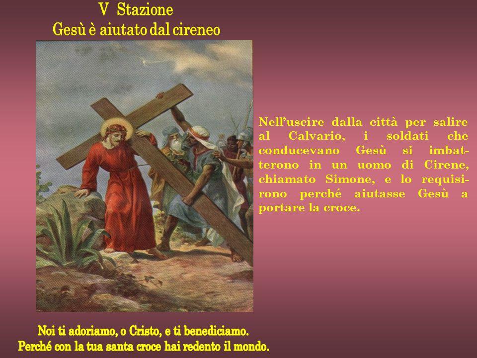 Nell'uscire dalla città per salire al Calvario, i soldati che conducevano Gesù si imbat- terono in un uomo di Cirene, chiamato Simone, e lo requisi- r