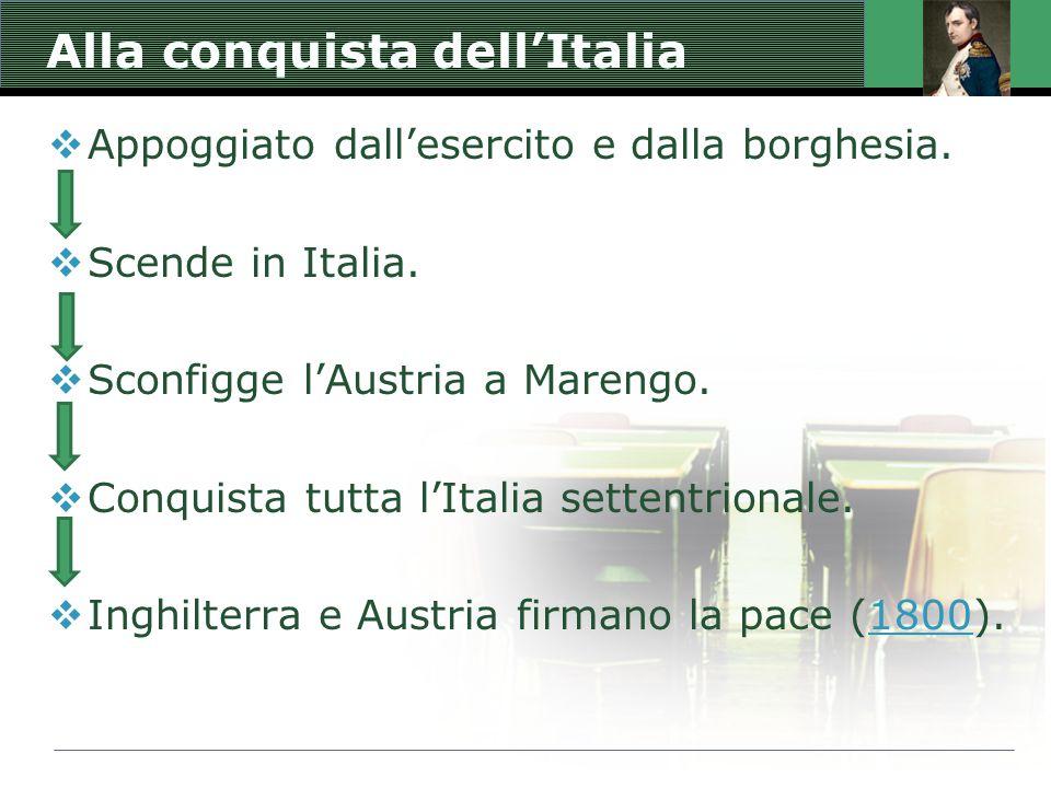 Alla conquista dell'Italia  Appoggiato dall'esercito e dalla borghesia.  Scende in Italia.  Sconfigge l'Austria a Marengo.  Conquista tutta l'Ital