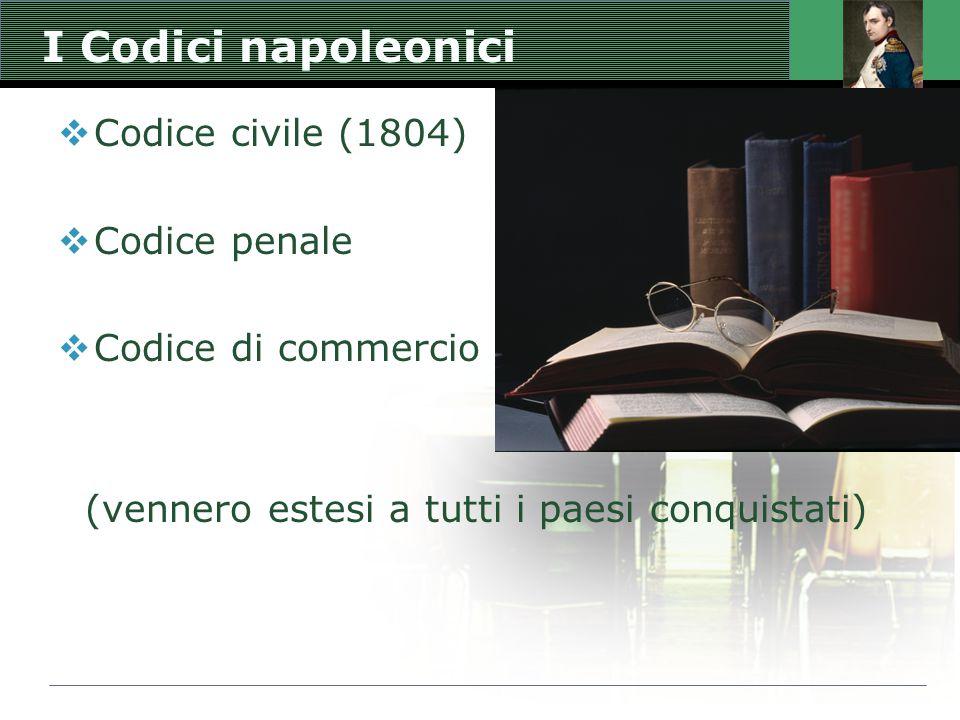 I Codici napoleonici  Codice civile (1804)  Codice penale  Codice di commercio (vennero estesi a tutti i paesi conquistati)