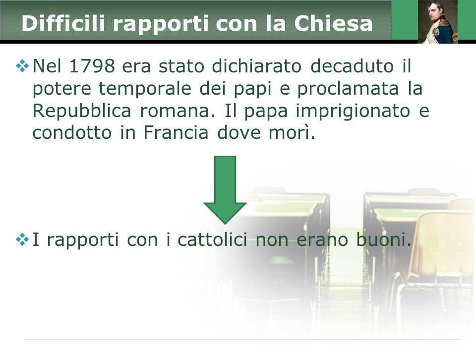 Difficili rapporti con la Chiesa  Nel 1798 era stato dichiarato decaduto il potere temporale dei papi e proclamata la Repubblica romana. Il papa impr