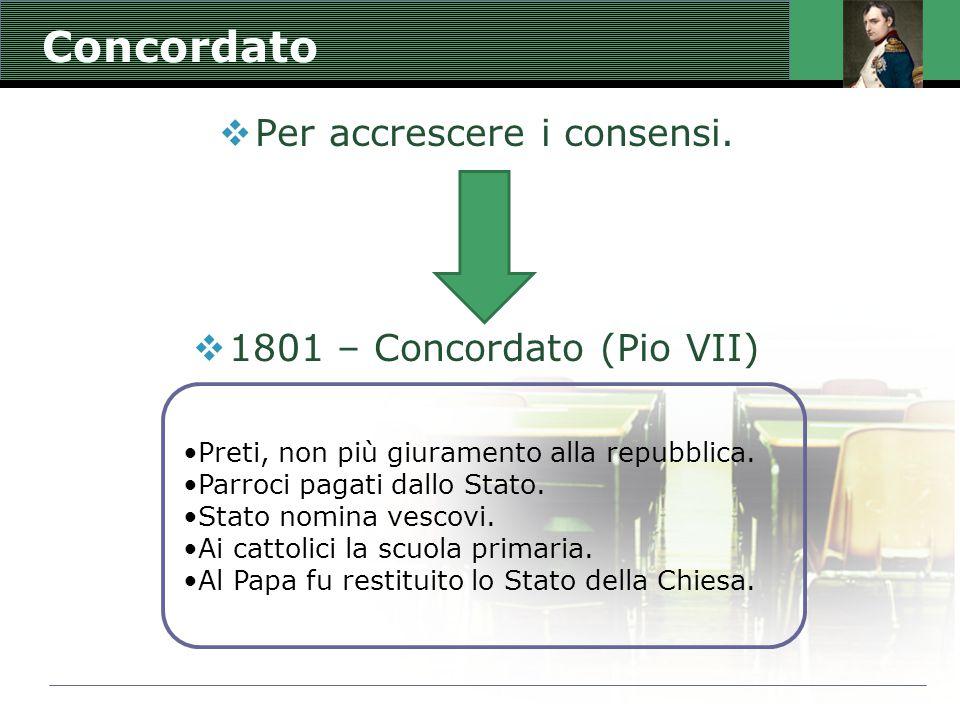 Concordato  Per accrescere i consensi.  1801 – Concordato (Pio VII) Preti, non più giuramento alla repubblica. Parroci pagati dallo Stato. Stato nom