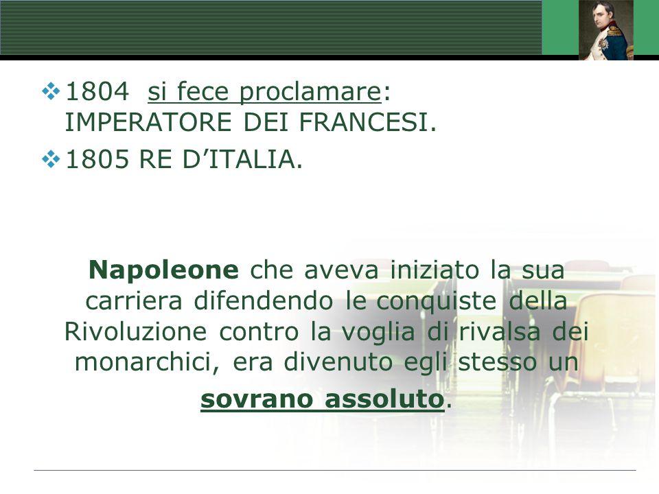  1804 si fece proclamare: IMPERATORE DEI FRANCESI.  1805 RE D'ITALIA. Napoleone che aveva iniziato la sua carriera difendendo le conquiste della Riv