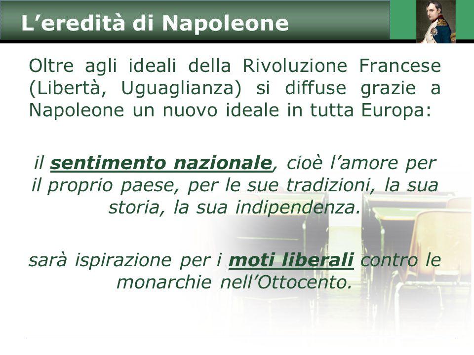 L'eredità di Napoleone Oltre agli ideali della Rivoluzione Francese (Libertà, Uguaglianza) si diffuse grazie a Napoleone un nuovo ideale in tutta Euro