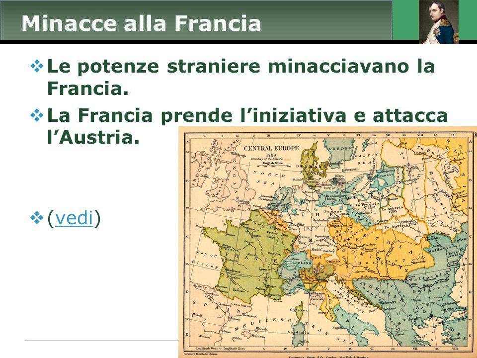 Minacce alla Francia  Le potenze straniere minacciavano la Francia.  La Francia prende l'iniziativa e attacca l'Austria.  (vedi)vedi