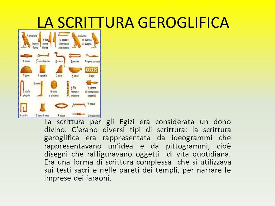 LA SCRITTURA GEROGLIFICA La scrittura per gli Egizi era considerata un dono divino. C'erano diversi tipi di scrittura: la scrittura geroglifica era ra