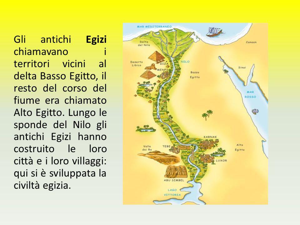 Gli antichi Egizi chiamavano i territori vicini al delta Basso Egitto, il resto del corso del fiume era chiamato Alto Egitto. Lungo le sponde del Nilo