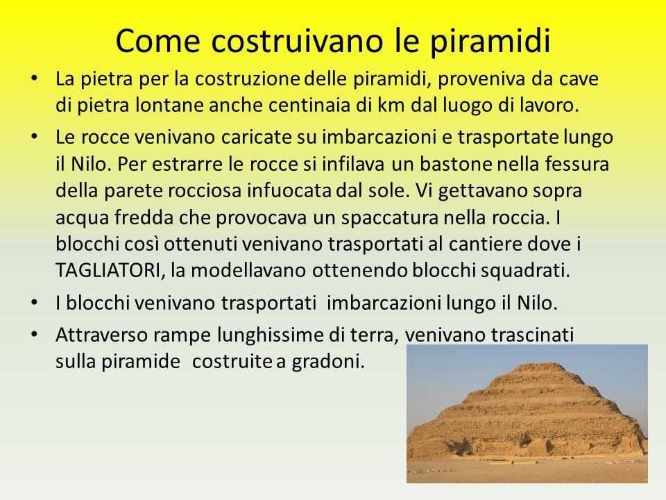 Come costruivano le piramidi La pietra per la costruzione delle piramidi, proveniva da cave di pietra lontane anche centinaia di km dal luogo di lavor