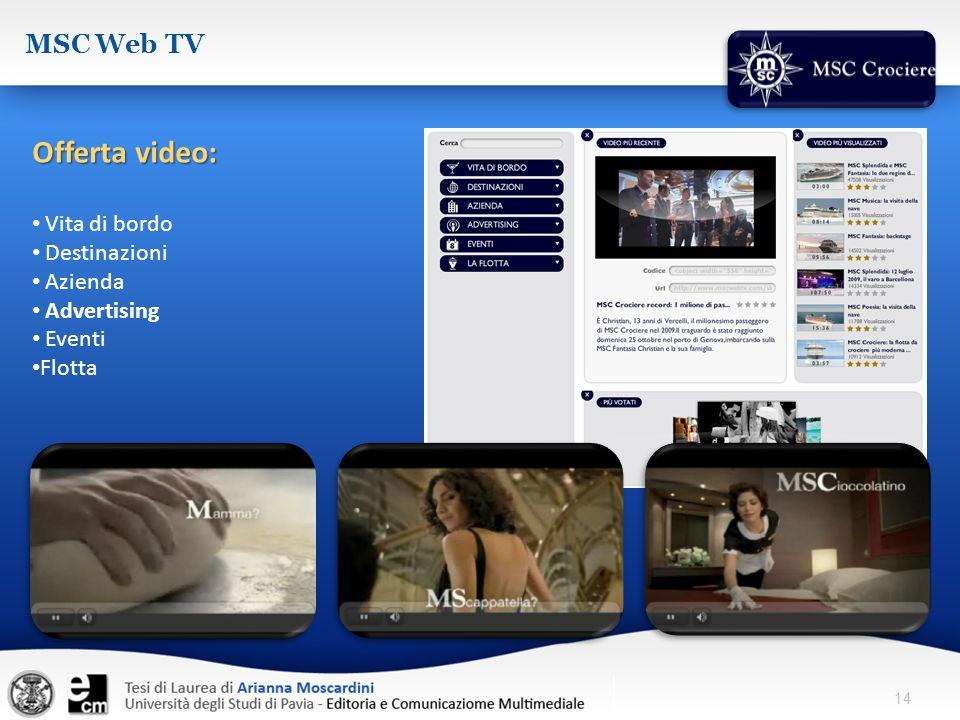 14 MSC Web TV Offerta video: Vita di bordo Destinazioni Azienda Advertising Eventi Flotta