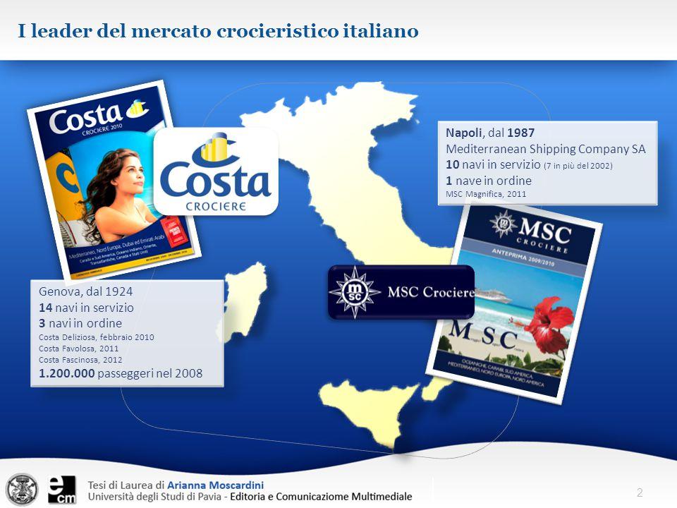 2 I leader del mercato crocieristico italiano Genova, dal 1924 14 navi in servizio 3 navi in ordine Costa Deliziosa, febbraio 2010 Costa Favolosa, 201