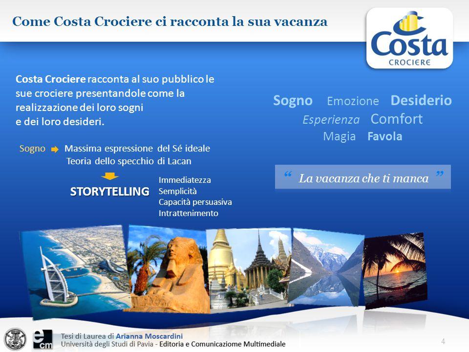 Costa Crociere racconta al suo pubblico le sue crociere presentandole come la realizzazione dei loro sogni e dei loro desideri. 4 Come Costa Crociere