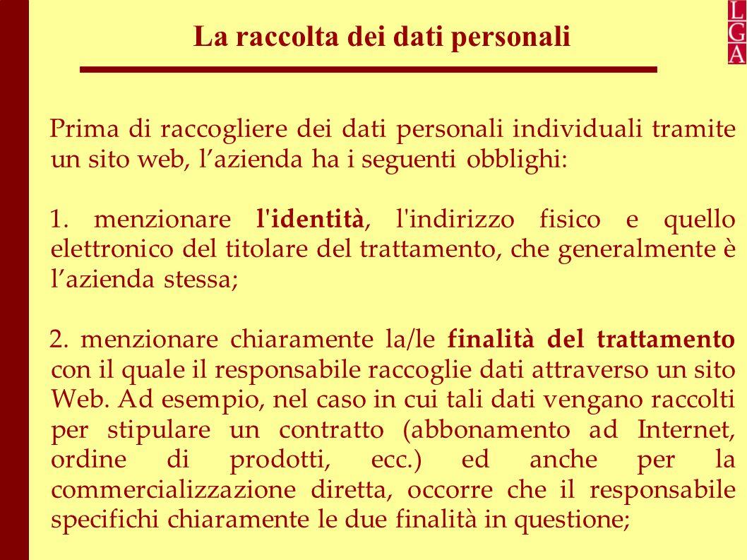 La raccolta dei dati personali 3.