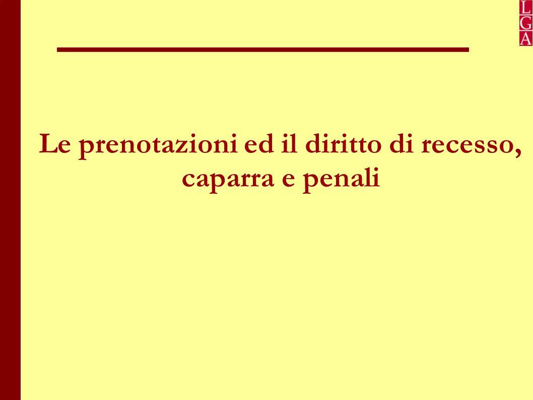 Le prenotazioni ed il diritto di recesso Art.34 del Codice del Turismo «Pacchetti Turistici».
