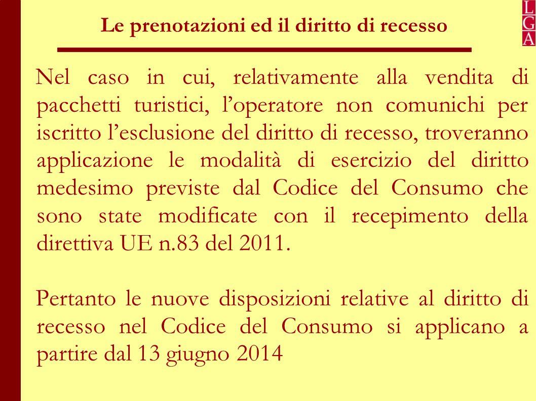 Diritto di recesso nel codice del Consumo (artt.52-59) Il diritto di recesso può essere esercitato entro 14 giorni dalla consegna del bene.
