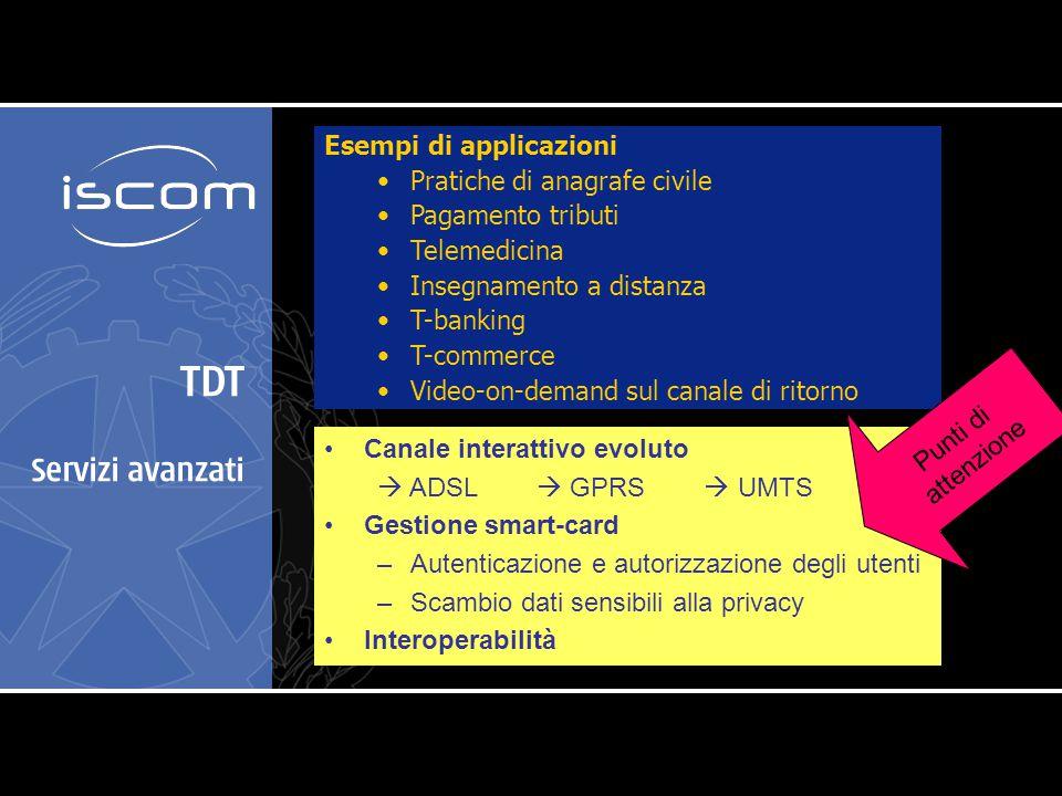 TDT Servizi avanzati Canale interattivo evoluto  ADSL  GPRS  UMTS Gestione smart-card –Autenticazione e autorizzazione degli utenti –Scambio dati s