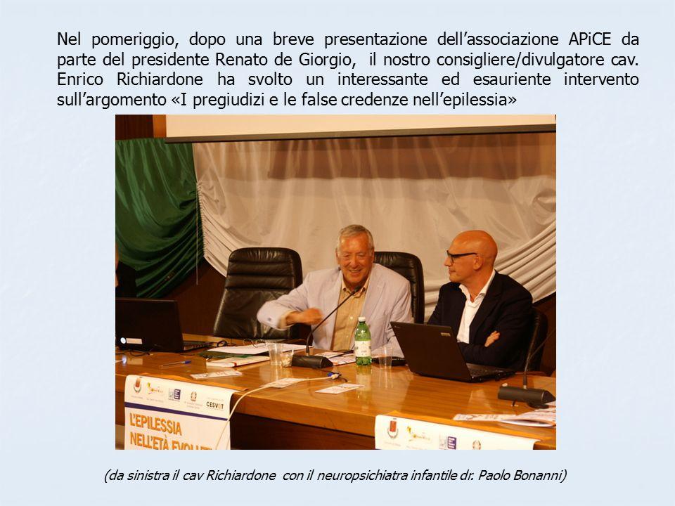 Nel pomeriggio, dopo una breve presentazione dell'associazione APiCE da parte del presidente Renato de Giorgio, il nostro consigliere/divulgatore cav.