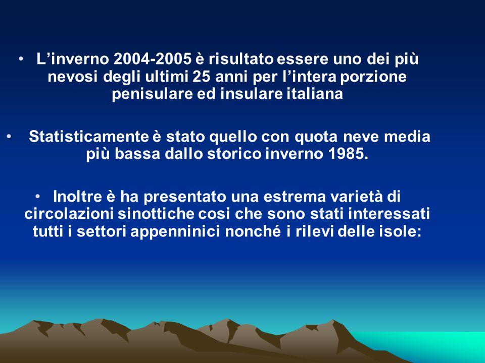 L'inverno 2004-2005 è risultato essere uno dei più nevosi degli ultimi 25 anni per l'intera porzione penisulare ed insulare italiana Statisticamente è stato quello con quota neve media più bassa dallo storico inverno 1985.