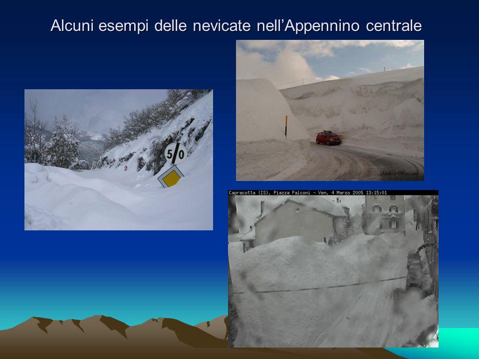 Alcuni esempi delle nevicate nell'Appennino centrale