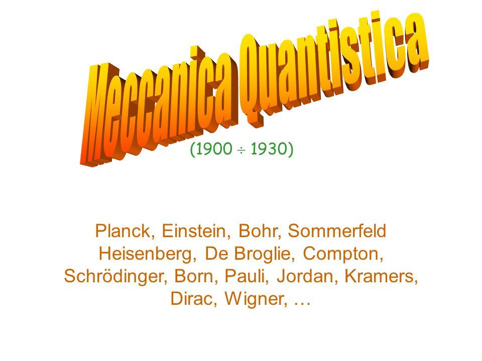Planck, Einstein, Bohr, Sommerfeld Heisenberg, De Broglie, Compton, Schrödinger, Born, Pauli, Jordan, Kramers, Dirac, Wigner, … (1900  1930)