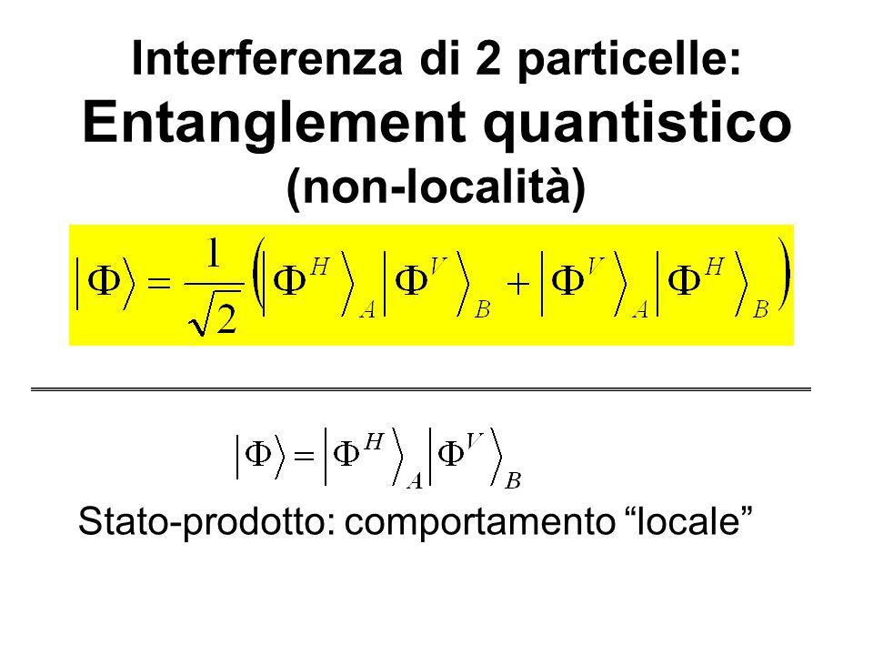 Interferenza di 2 particelle: Entanglement quantistico (non-località) Stato-prodotto: comportamento locale