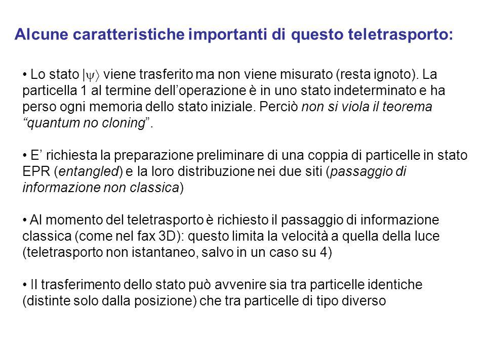 Alcune caratteristiche importanti di questo teletrasporto: Lo stato    viene trasferito ma non viene misurato (resta ignoto).